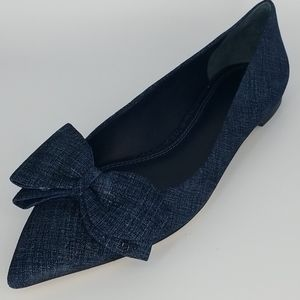 Tory Burch Suede Rosalind Bow Pointy Toe Flat Shoe